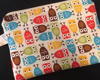 Colorful Owls Zippered Pouch with Swivel Clip - stocking stuffer, notions case, vegan bag