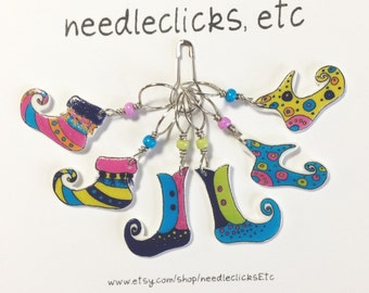 curly toes elf sock stitch markers, whimsical knitting accessory, fun gift for knitters