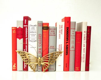 Vintage Decorative Book Collection in Red, White and Grey - Valentine;s Day Decor