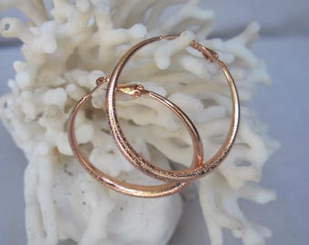 """Classic 1-3/4"""" Diameter Brushed Stacco Finish Rose Gold Round n Tapered Hoop Earrings"""