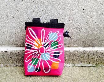 chalk bag, rock climbing chalkbag, chalkbags, handpainted, painted, chalkbag, rock climbing, chalk bag, pink