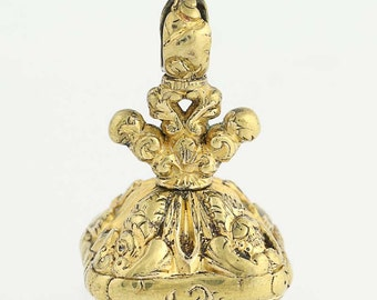 Victorian Era Fob Pendant - Gold Filled Bloodstone Antique Gift Q6963