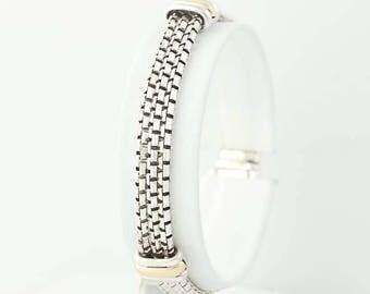 "Multi-Chain Bracelet - Sterling Silver 14k Yellow Gold 6.75"" Box Chain 10.3mm Q9744"