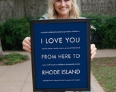 Cyber Monday SALE Rhode Island Art Print, Travel Poster, I Love You From Here To RHODE Island, Shown in Navy Blue, Free Us Shipping
