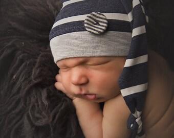 Newborn Photography Props Newborn Striped Sleeper Hat Photo Prop Hats Newborn Photo Props Baby Hats Newborn Boys Hats Stripe Hat