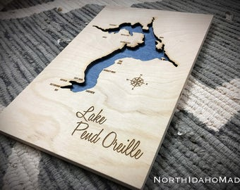 Lake Pend Oreille 3-D Lake Sign - Ponderay North Idaho Handmade Custom with Cities, Compass and Lake Name Engraved - NorthIdahoMade