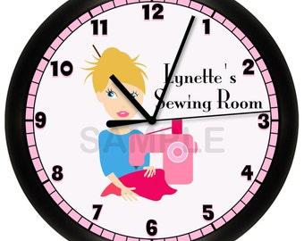 Sewing Room Pink Wall Clock