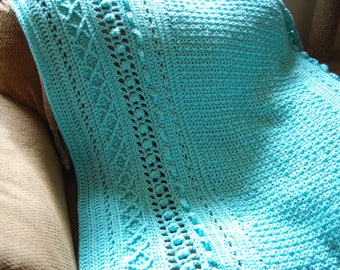 Aran Afghan in Robins Egg Blue