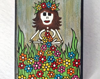 Flower Child - original art by Susie Carranza.  Mini wood canvas. Dia de los Muertos inspired art.