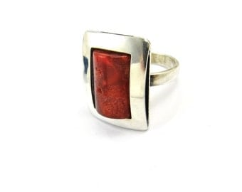 Coral Ring, Sterling Silver Modernist Ring, Vintage Geometric Ring, Red Stone, Modernist Jewelry, Vintage Statment Rings, Rings Size 6