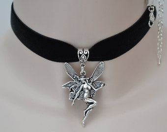 Large ANGEL FAIRY Charm -  BLACK 16mm Velvet Ribbon Choker Necklace -ig... or choose a different colour, all hand made to size :)