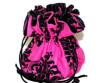Jewelry Drawstring Travel Bag - Victorian Organizer bridal Pouch - Magenta pink and Black Damask