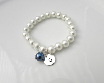 Pearl Bracelet, Blue Bridesmaid Gift, British Seller UK, Personalized Pearl Bracelet, Initial Bracelet, Flower Girl Gift, Pearl Jewelry