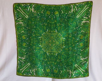 Green Vera Scarf with Paisleys and Ribbons