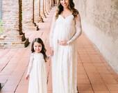 Glamour maternity dress,maternity gown,lace dress,long sleeve maternity gown,ivory dress,baby shower dress,wedding dress,
