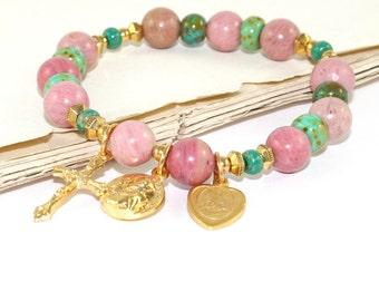 St Padre Pio Chaplet Prayer Bracelet, Rhodonite Gemstone Beads, Catholic Stretch Bracelet