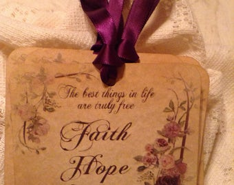 Faith Hope Love Shabby Gift Tags, Christian Inspirational Gift Tag, Bible Journaling, Bookmark, Gift Wrap, Gift Embellishment, Favor