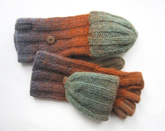 convertible mittens, wool mittens