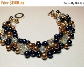 30% OFF SALE thru 2-28 Blue Gold Pearl Crystal Cluster Bracelet, Wedding Bridesmaid Christmas Gift Mom Mother Gift Birthday Gift Sister Girl