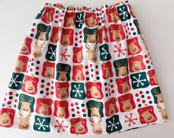 Holiday skirt - Girl, baby, toddler, tween Christmas Santas red and green reindeer skirt 3m 6m 12m 18m 2T 3T 4T 5T 6 7 8 10 12 14 16