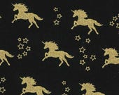 ON SALE 10% OFF Black and Gold Fabric - Black Fabric - Unicorn Fabric - Gold Fabric - Metallic Fabric - Girl Fabric - Magical Unicorn - by t