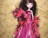 Gown For Monster High Doll Pink Metallic Gown and Pink Black Boa MH Gown