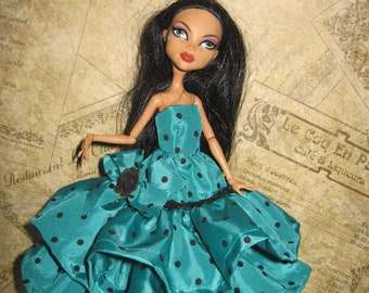 Ruffle Gown for Monster High Doll Aqua with Black Polka Dot Ruffle Dress