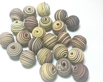 10 Fimo Polymer Clay Fimo Beads Round brown light yellow color 14mm
