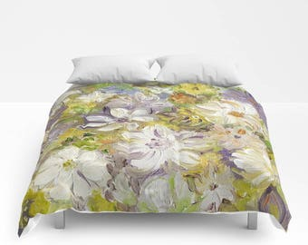 Summer FLORAL Duvet Cover or Comforter, Lilac Purple Olive Chartreuse Green Bedding Modern, Abstract Flower, Bedspread Twin Full Bright