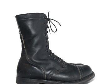 SALE 12 R | Men's Vintage 1970's Combat Boots Paratrooper Jump Boots Black Cap Toe Boots