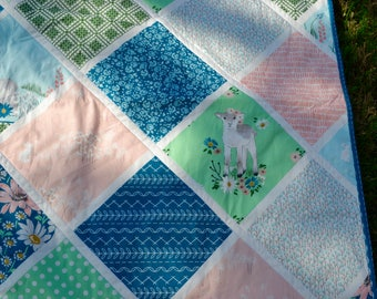 On Sale:  Brand new - baby/toddler quilt - handmade Lamb image fabric -blue version - monogram available