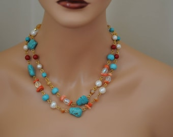 Turquoise Coral Necklace, Layered Necklace, Gift for her, Semi precious necklace, Summer Necklace, Multi strand necklace, Everyday use
