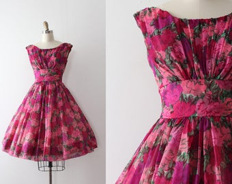 vintage 1950s dress // 50s floral party prom dress