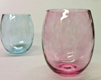 Stemless Wine Glass, Pale Pink Glass, Home Decor, Holiday Entertaining, Beach Sea Glass Colors