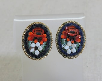 Red and White Flower Mosaic Clip On Earrings, Vintage Mosaic Earrings