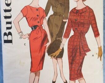 Vintage Dress Pattern Butterick 9532 Dress Pencil Skirt Belt Front Button Rollaway Collar Short Sleeve