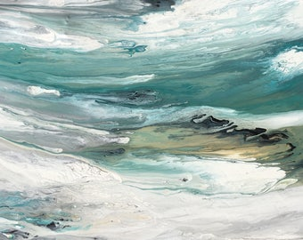 Ocean Painting abstract art, Beach art in aqua, turquoise, charcoal, espresso, Large modern painting, abstract art, contemporary art