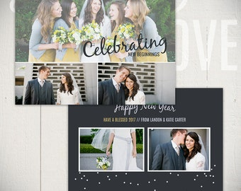 New Years Card Template: Confetti C - 5x7 New Year Card Template for Photographers