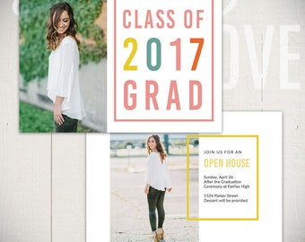 Graduation Card Template - Senior Announcement Card 5x7 - Downtown B