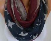 Vintage American Flag Infinity Scarf American Cotton Star Scarf Patriotic Scarf,July 4th Scarf Memorial Day Gift Soft,best selling item