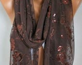 ON SALE --- Brown Sequin Tulle Scarf,Chocolate Shawl, Cowl  Scarf Bridesmaid gift  Bridal Scarf, Gift Ideas  for her Women Fashion Accessori