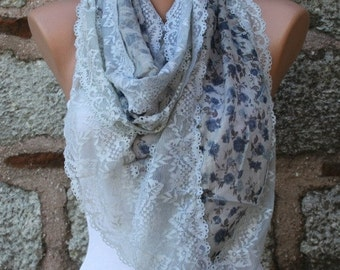 ON SALE --- Floral Lace Scarf Summer Cowl Scarf Bridal Accessories Bridesmaid Gift Gift Ideas For Her Women Fashion Accessories Teacher  Gif