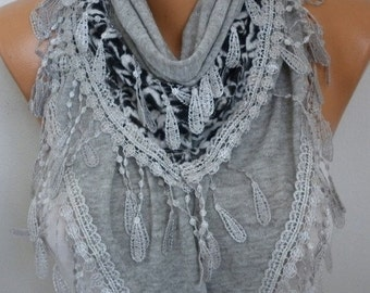 ON SALE --- Gray Knitted Scarf Shawl Cowl Lace Bridesmaid Bridal Accessories Gift Ideas For Her Women Fashion Accessories Best selling item