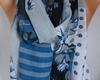 Dark Blue & Gray Floral Polka Dot Cotton Scarf Shawl Summer Scarf Gift For Her Mom Women Fashion Accessories Beach Wrap Pareo Birthday Gift