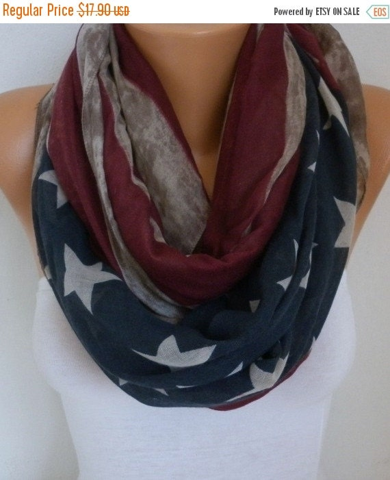 ON SALE --- Vintage American Flag Infinity Scarf American Cotton Star Scarf Patriotic Scarf,July 4th Scarf Memorial Day Gift Soft,best selli