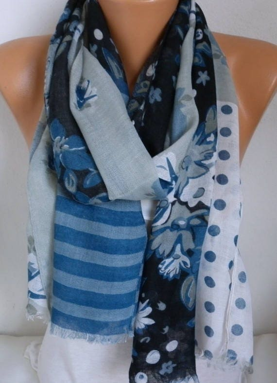 Dark Blue & Gray Floral Polka Dot Cotton Scarf Shawl Summer Scarf Gift For Her Mom Women Fashion Accessories Beach Wrap Pareo Birthday Gift