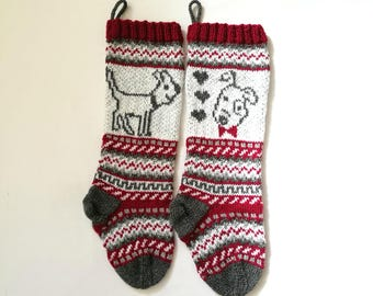 Pattern Dog Christmas Stockings, Stranded knit dog, Santa Sock for Dog, FairIsle Dog, Knitting pattern Dog, PDF pattern