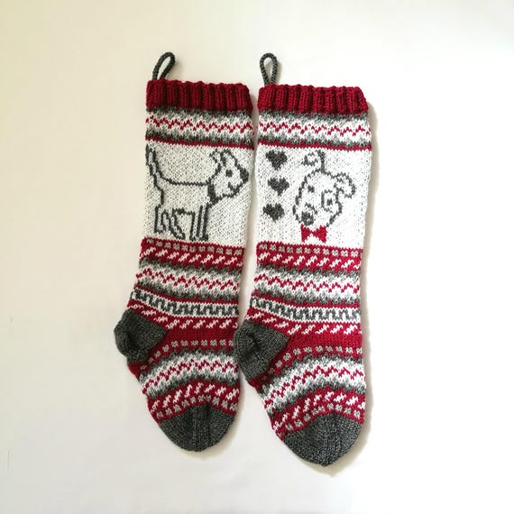 Pattern Dog Christmas Stockings, Stranded knit dog, Santa Sock for ...