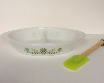 Vintage Jeanette Glasbake Glass Divided Serving Dish / Green Floral Milk Glass Divided Baking Dish