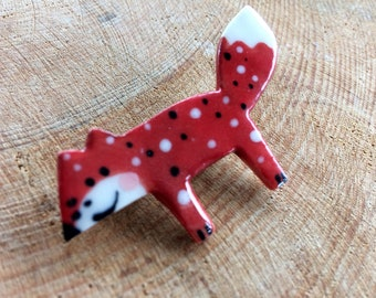 Red Fox Brooch/pin/button/badge.Ceramic/Porcelain.Made in Wales,Uk